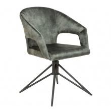 Welurowy fotel obrotowy Eternity szaro-zielony z uchwytem