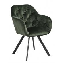 Ciemnozielone krzesło z podłokietnikami Lola pikowane welur