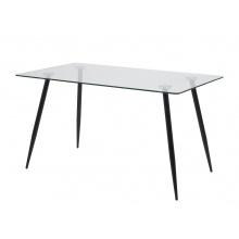 Szklany stół do jadalni Wilma 140x80 cm czarny nowoczesny