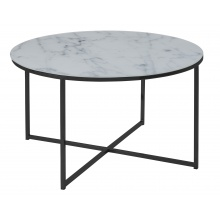 Okrągły stolik kawowy Alisma 80 cm biały szkło/czarny