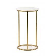 Okrągły stolik Aida 35 cm biały marmur połysk złote nóżki