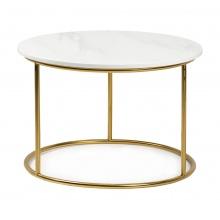 Okrągły stolik Aida 40 cm biały marmur połysk złote nóżki