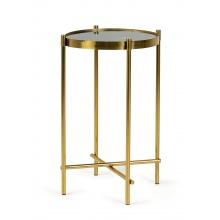 Okrągły stolik Miron 35 cm czarny efekt marmuru złote nóżki