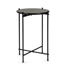 Okrągły stolik glamour Linna 40 cm czarny marmur połysk