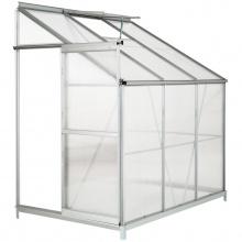 Ukośna szklarnia z fundamentem 190x122 cm 4,09 m3 poliwęglanowa dostawiana jednospadowa