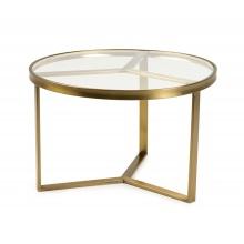 Okrągły szklany stolik glamour Lea 60 cm przezroczysty złote nóżki
