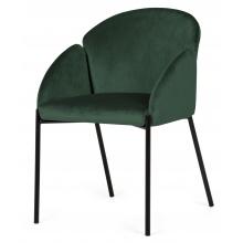 Krzesło welurowe z podłokietnikami Nalia butelkowa zieleń/czarne