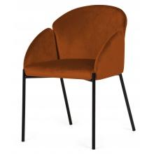 Krzesło welurowe z podłokietnikami Nalia miedź/czarne