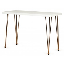 Drewniane biurko konsola Ludo II 110 cm białe/złote nóżki