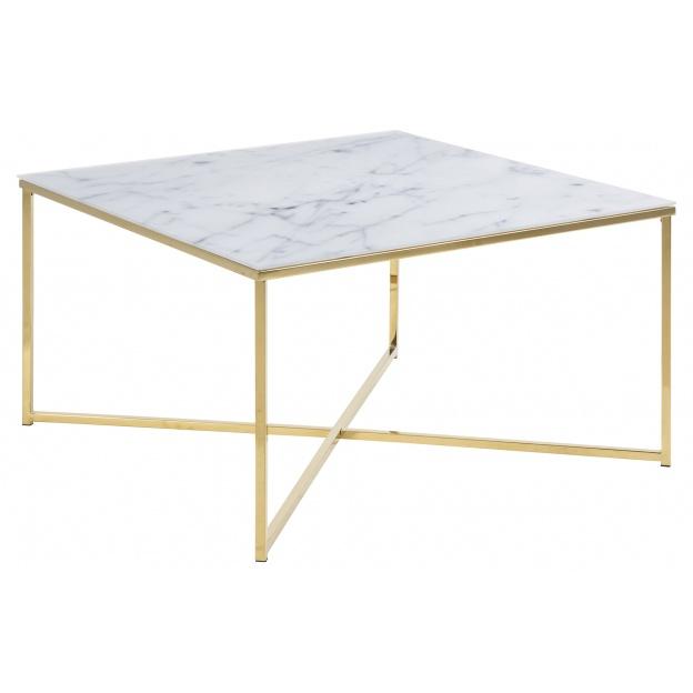 Stolik kawowy Alisma biały marmur/ złoty