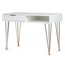 Drewniane biurko z szufladą Ludo 110 cm białe/złote nóżki
