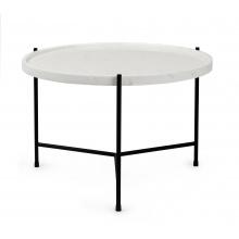 Okrągły stolik glamour Serena 60 cm biały marmur mat