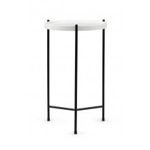 Okrągły stolik glamour Serena 35 cm biały marmur mat