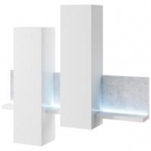 Witryna wisząca z półką Bota 152 cm z oświetleniem LED biała/beton Colorado