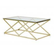 Szklana ława kawowa Harlow 120 cm złota glamour