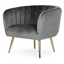 Fotel z przeszyciami Bismo welurowy szary/złote nóżki