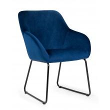 Fotel do salonu Lavia nowoczesny niebieski welur