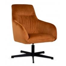 Fotel obrotowy Bakta miedziany pomarańczowy welur czarne nóżki