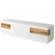Szafka RTV z szufladami Silke 206 cm biała połysk/dąb wotan