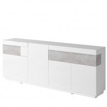 Komoda do salonu Silke 219 cm biała połysk/beton Colorado