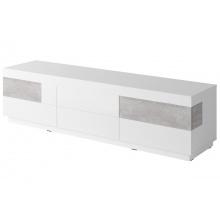 Szafka RTV z szufladami Silke 206 cm biała połysk/beton Colorado