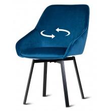 Krzesło welurowe do jadalni Jack niebieskie