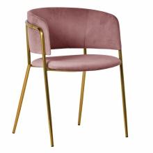 Krzesło do jadalni Evia welurowe różowe/złote nogi