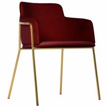 Krzesło tapicerowane Korfu Gold bordowe/złote nogi welur