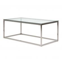 Szklana ława glamour Blanca 90 cm srebrna