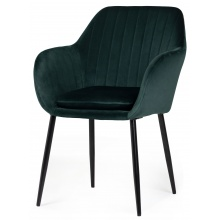 Krzesło do jadalni Jonson z podłokietnikami zielone welur