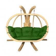 Drewniany podwójny fotel wiszący O-Zone Premier Swing Pod zielonymi ze stojakiem