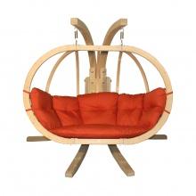 Drewniany podwójny fotel wiszący O-Zone Premier Swing Pod czerwony ze stojakiem