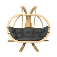 Drewniany podwójny fotel wiszący O-Zone Premier Swing Pod grafitowy ze stojakiem