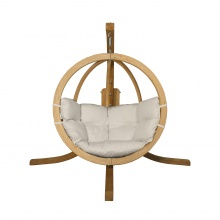 Drewniany fotel wiszący O-Zone Swing Pod beżowy ze stojakiem