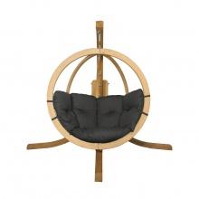 Drewniany fotel wiszący O-Zone Swing Pod grafitowy ze stojakiem