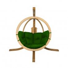 Drewniany fotel wiszący O-Zone Swing Pod zielony ze stojakiem
