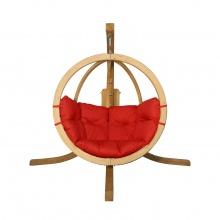 Drewniany fotel wiszący O-Zone Swing Pod czerwony ze stojakiem