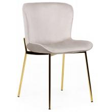 Krzesło welurowe do jadalni Sully beżowe nowoczesne - złote nogi