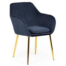 Krzesło do jadalni Jonson z podłokietnikami granatowe welur - złote nogi