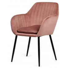Krzesło do jadalni Jonson z podłokietnikami różowe welur