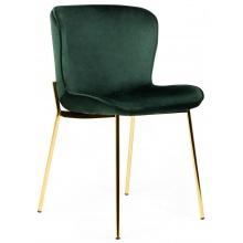 Krzesło welurowe do jadalni Sully butelkowa zieleń nowoczesne - złote nogi