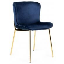 Krzesło welurowe do jadalni Sully granatowe nowoczesne - złote nogi
