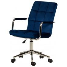 Krzesło obrotowe z podłokietnikami Active granatowe welurowe