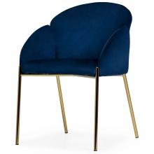 Krzesło welurowe z podłokietnikami Nalia granatowe/czarne