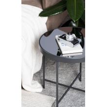 Okrągły stolik kawowy Aron 42 cm szary/czarny wąskie nóżki