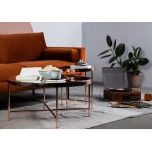 Okrągły stolik kawowy Elisa II 82 cm czarny/miedziany pomarańczowy