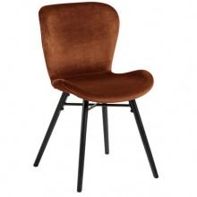 Krzesło welurowe do jadalni Batilda miedziane/czarne nogi