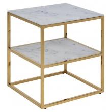 Stolik kwadratowy Alisma 45x40 cm marmur/złoty