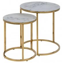 Zestaw dwóch stolik kawowych Alisma biały marmur/złoty