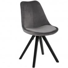 Krzesło do jadalni Dima welurowe ciemnoszare/czarne nogi skandynawskie